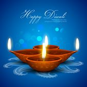 stock photo of diya  - illustration of burning diya on Diwali Holiday background - JPG