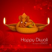 stock photo of diya  - illustration of Ganesha with diya on Diwali Holiday background - JPG