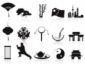 Black Chinese Icons Set