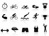 image of triathlon  - isolated triathlon sport icon set on white background - JPG