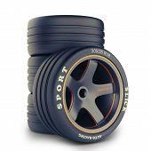 Group of sport wheels