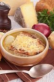 onion soup with bread and gruyere
