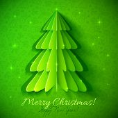 Green origami Christmas tree greeting card