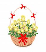 A Brown Basket of Lovely Yellow Roses