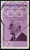 stamp printed in Germany shows Pierre de Coubertin founder of the International Olympic Committee
