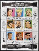 A stamp shows greta garbo marlene dietrich marilyn monroe, chaplin, lumiere, sica, bogart, montaner
