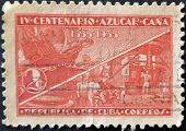 Cuba - Circa 1935: A Stamp Printed In Cuba Dedicated To The Fourth Centenary Of The Sugar Cane