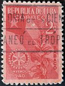 Cuba - Circa 1940: A Stamp Printed In Cuba Dedicated To Plant To Snuff, Circa 1940