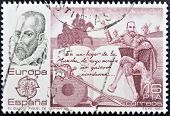 Spain - Circa 1983: A Stamp Printed In Spain Shows Don Quixote By Miguel De Cervantes, Circa 1983