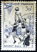 France - Circa 1956: A Stamp Printed In France Showing A Basketball Game, Circa 1956.