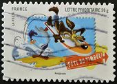 stamp printed in France shows Wile E. Coyote and the Road Runner Looney Tunes