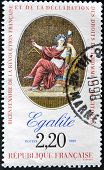A stamp printed in France in commemoration of the bicentennial of the French Revolution