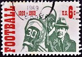 United States Of America - Circa 1969: A Stamp Printed In Usas Dedicated To American Football
