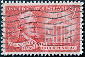 United States - Circa 1957: Stamp Printed In Usa, Shows Alexander Hamilton And Federal Hall