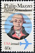 United States Of America - Circa 1980: A Stamp Printed In Usa Shows Portrait Of Philip Mazzei
