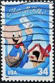 A stamp printed in USA shows Porky Pig a character from Looney Tunes cartoons