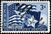 Stamp Depicting Us Flag And Texas Flag, With Inscription
