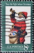 Usa - Circa 1972: The First Christmas Postage Stamp Show Santa Claus Twas The Night Before Christmas