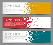 Simple colorful horizontal banners - with circle motive - yellow, red and blue
