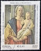 Italy - Circa 2001: A Stamp Printed In Italy Shows The Virgin And Child By Piero Della Francesca
