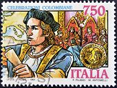 Italy - Circa 1991: A Stamp Printed In Italy Shows Christopher Columbus, Circa 1991