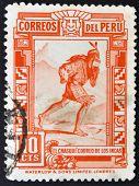 Peru - Circa 1936: A Stamp Printed In Peru Shows The Chasqui, Mail The Incas, Circa 1936