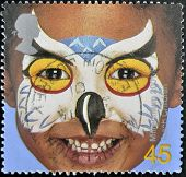 United Kingdom - Circa 2001: A Stamp Printed In England, Is Dedicated To Painted Faces Of Children