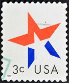 United States Of America - Circa 2002: A Stamp Printed In Usa Shows Star, Circa 2002