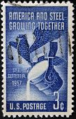 Usa - Circa 1957: A Stamp Printed In Usa Celebrating Steel Industry Centennial, Circa 1957