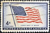 United States Of America - Circa 1957: Stamp Printed In Usa Shows  American Flag, Circa 1957
