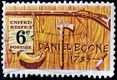 A stamp printed in USA honoring Daniel Boone a frontiersman and trapper