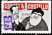 United States Of  America- Circa 1991: A Stamp Printed In Usa Shows Abbott And Costello, Circa 1991