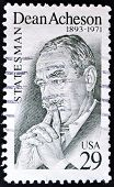 A stamp printed in USA shows Dean Acheson was U.S. secretary of state under President Harry Truman
