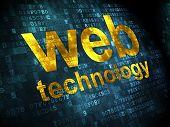SEO web design concept: Web Technology on digital background
