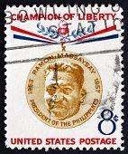 Postage Stamp Usa 1957 Ramon Magsaysay, Philippines President