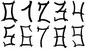 pic of arabic numerals  - set of Arabic numerals hand written by black ink on white background - JPG