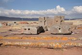 stock photo of pumapunku  - Megalithic stone complex Puma Punku of Tiwanaku civilization - JPG