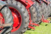 Rear View Row Of Tractor Wheels