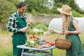 picture of farmer  - Beautiful blonde woman buying vegetables at farmers market from a handsome farmer - JPG