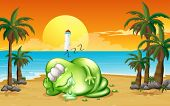 Illustration of a monster sleeping soundly at the beach
