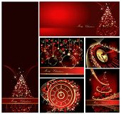 Merry Christmas background collections gold and red