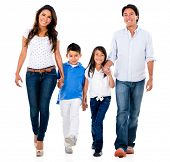 Happy family holding hands and walking - isolated over white background