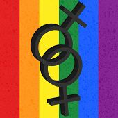 stock photo of homosexuality  - Homosexual love icon on rainbow background - JPG