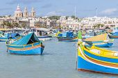 stock photo of horus  - Harbor of Marsaxlokk a traditional fishing village located in the south - JPG