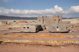 stock photo of pumapunku  - Megalithic stone complex Puma Punku of Tiwanaku civilization - JPG