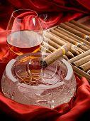 Cuban cigar and liquor over the ash tray