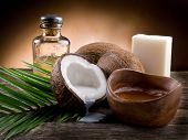 stock photo of coco  - natural coconut walnut oil - JPG