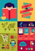 Reading books infographics, set of flat icons