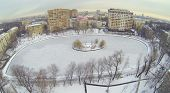 Egersky pond in winter cloudy day in Moscow, Russia, Aerial view