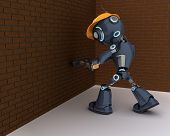 3D Render of an android Builder with a sledgehammer